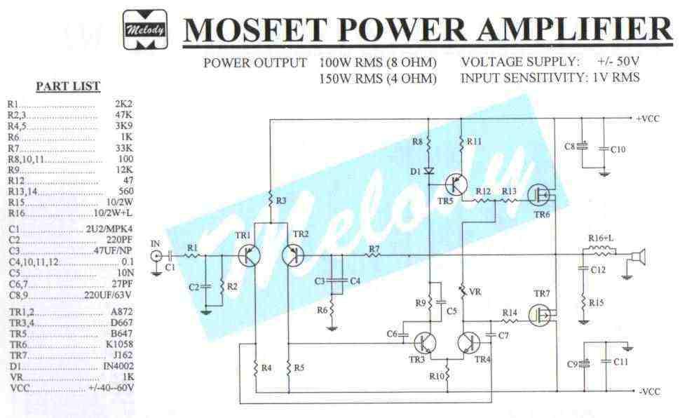 Stupendous 150W Mosfet Amplifier Circuit Basic Electronics Wiring Diagram Wiring Digital Resources Bemuashebarightsorg