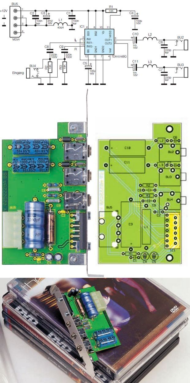 TDA1516BQ Amplifier Circuit with PC Card PCB anfi tda1516bq anfi karti pc amp module anfi modulu