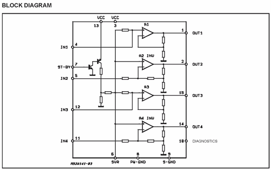 TDA7377 Amplifier Circuit  (12V Stereo 30W) tda7377 blok diagram