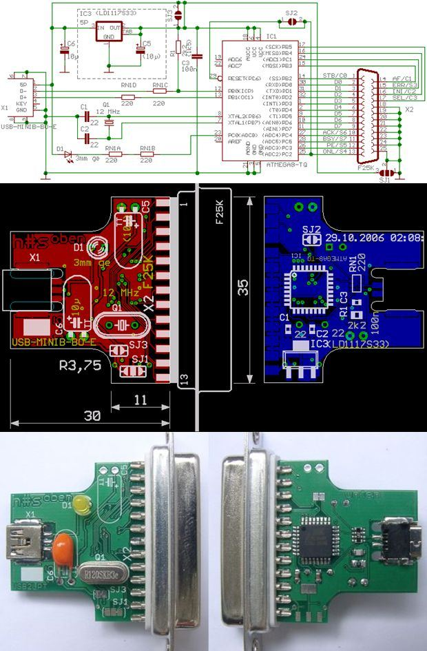 USB to LPT Converter Circuit with Atmel ATMEGA8 - Electronics Projects  Circuits320Volt