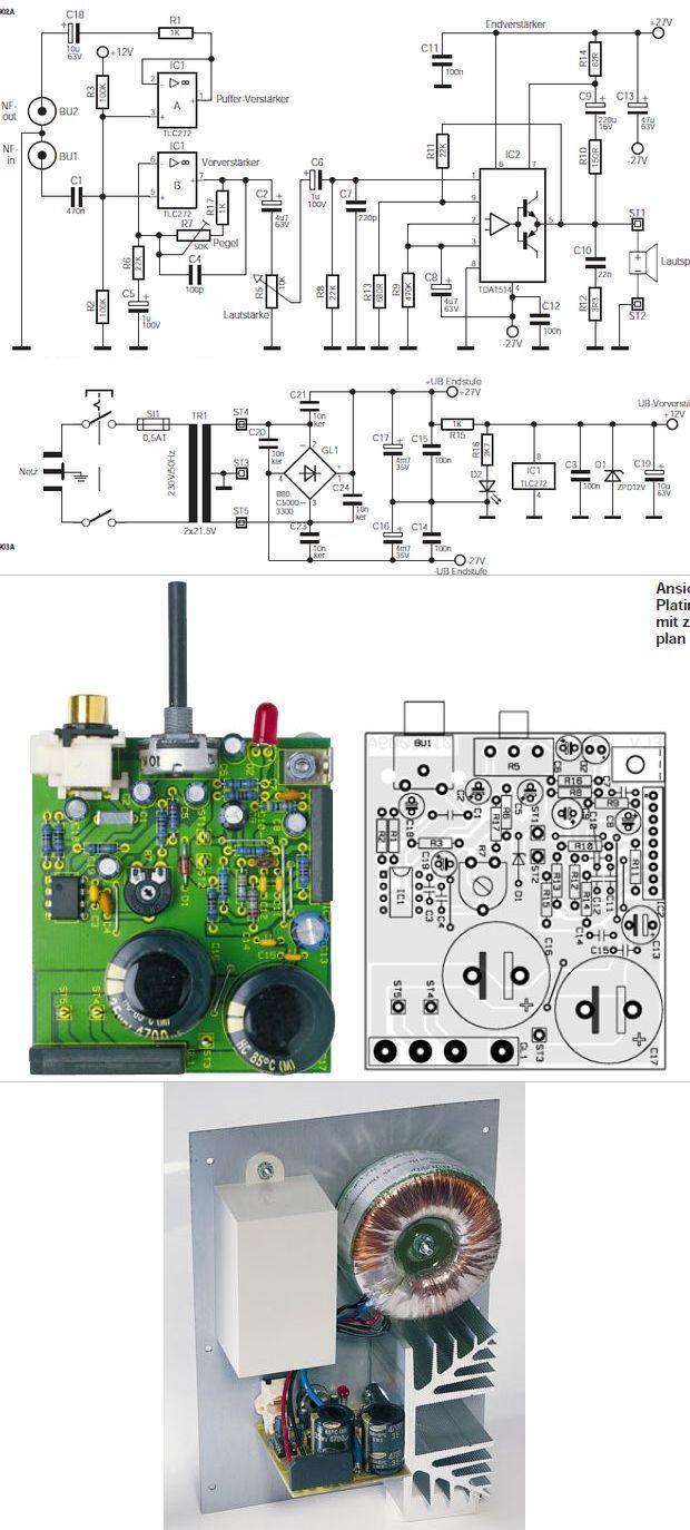 20Hz 25kHz Subwoofer Amplifier Circuit TDA1514A anfi bass anfi filtre rms subwofer tda1514a tlc272 subwoofer anfi