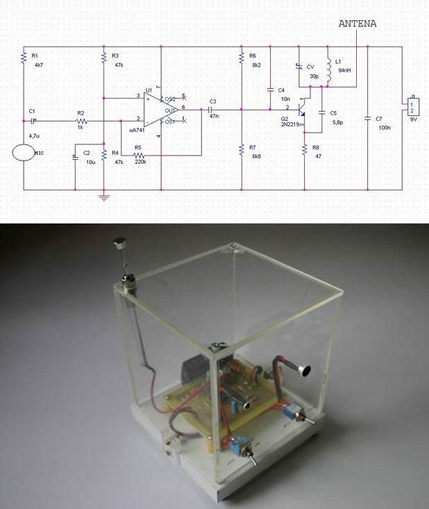 1Km Fm transmitter circuit  741 op amp fm transmitter circuit fm transmitter schematic fm verici devresi