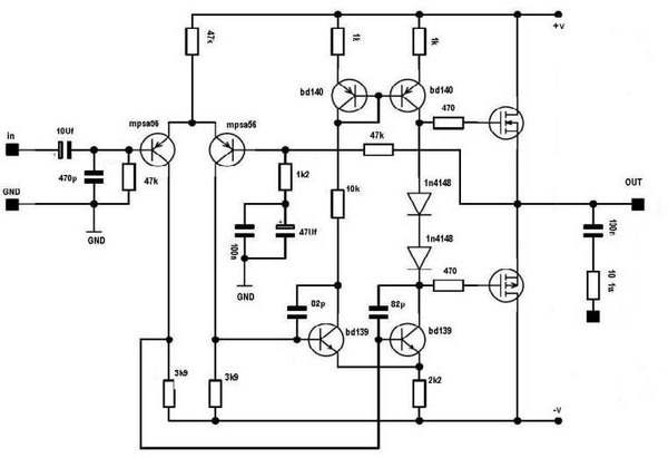 100w hi fi mosfet amplifier circuit