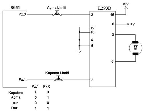 AT89C51 L293D DC Motor with Door Control Circuit port baglanti sema