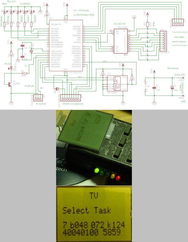 PIC16F877 Nokia 3310 LCD Display IR Remote RC5 Control 24lc256p 74hc148 eeprom ir pic16f877lf remote protocol tsop34836