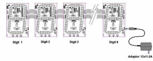 Large  7 Segment Display Circuit ULN2803  PIC16F876A 7 segment led ccs c pic16f876 adaptor 12v digit 8