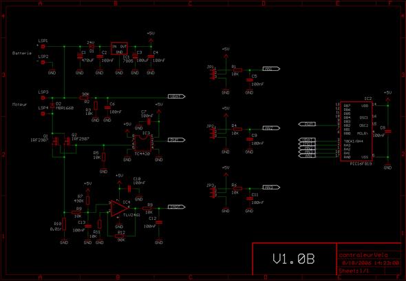 Electric Bike Motor Control Circuit TC4420 PWM  PIC16F819 pwm circuit pwm controller schema motor mosfet