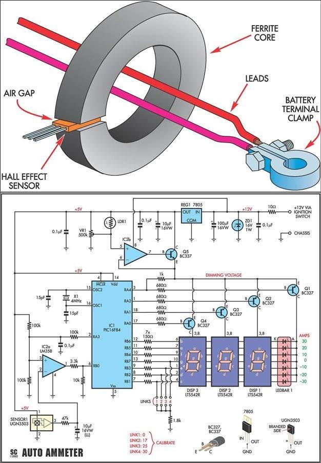 amper-metre-lm358-pic16f84-ugn3503-hall-effect-sensor-ampermetre