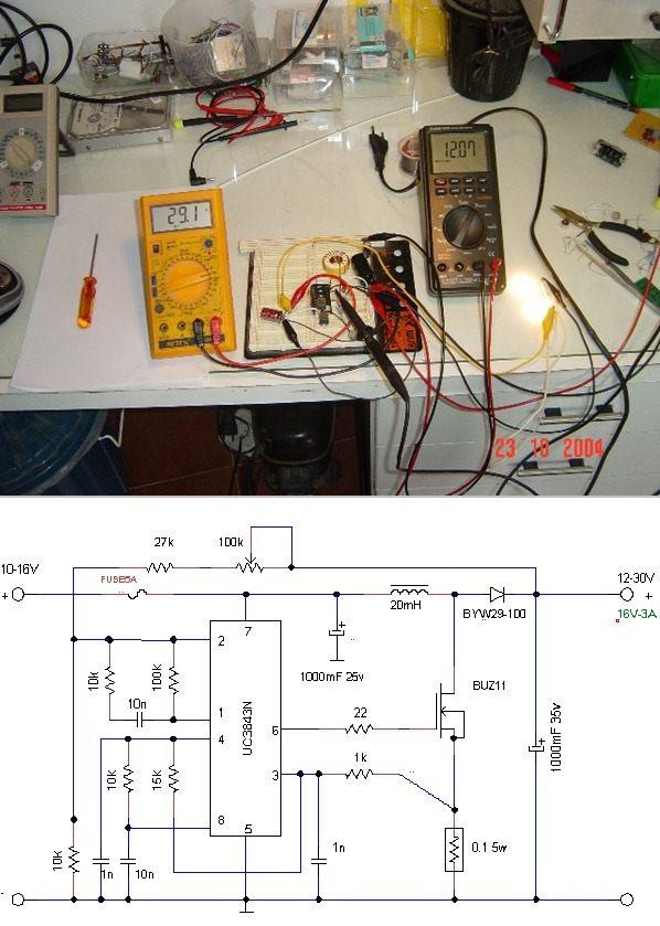 12V to 30V Adjustable DC DC Converter Circuit UC3843 PWM dcdc konvertor uc3843 dcdc cevirici