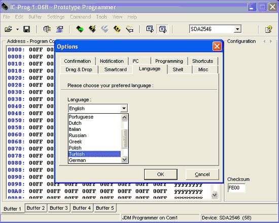 cài đặt ngôn ngữ icprog