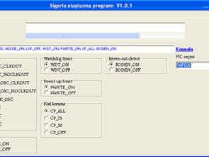 Proton Picbasic Hi Tech C için Sigorta Kod Oluşturucu