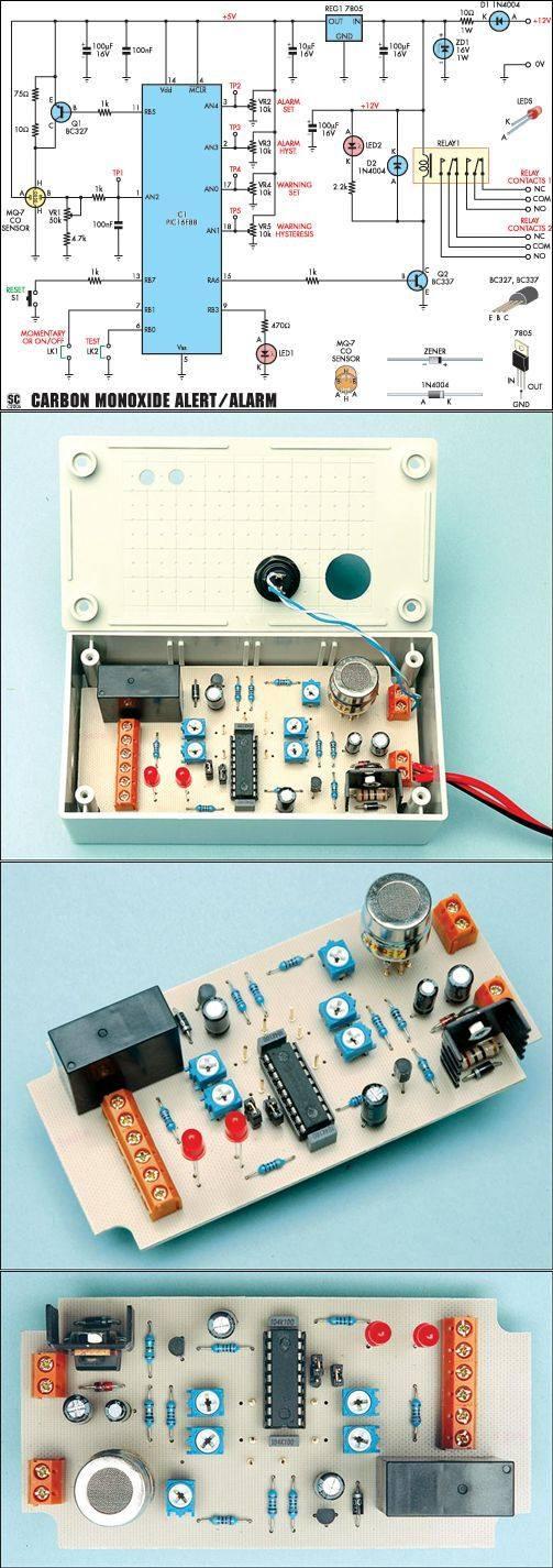 MQ 7  Carbon Monoxide Alarm Circuit PIC16F88 alarm gaz alarmi mq 7 co pic16f88 sensor carbon monoxide alarm co alarm