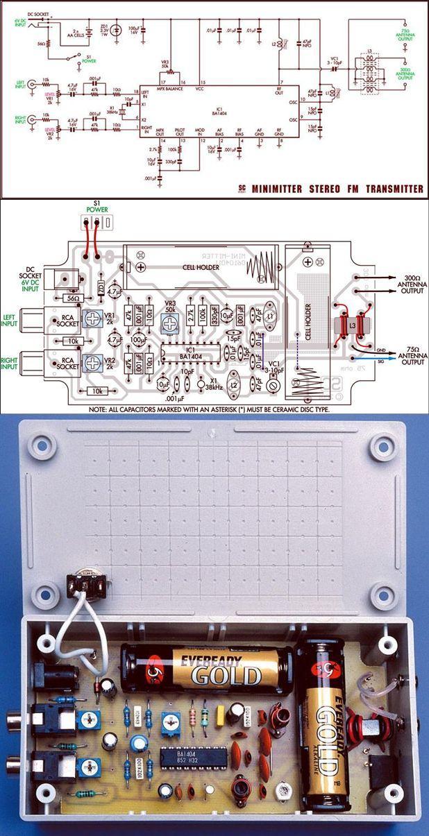 BA1404 Stereo 3V FM Transmitter Circuit ba1404 fm verici fm stereo transmitter 3v fm fm bug