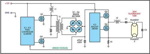 Tl494 12v Flourescent Lamp Inverter Circuit L6574 Ballast