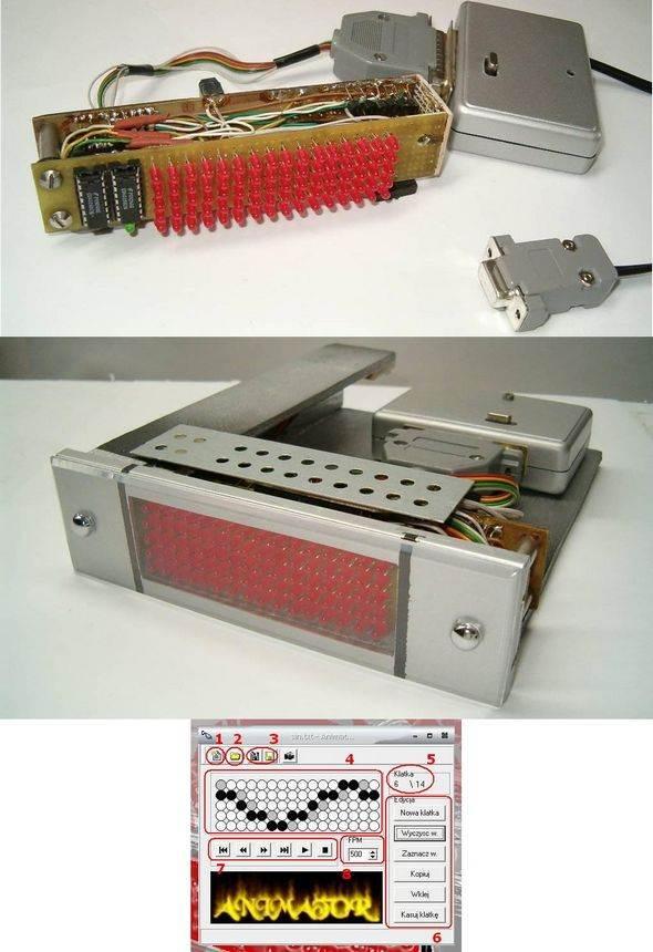 PC Controlled AT90S2313  Led Animation Circuit led matrix animator