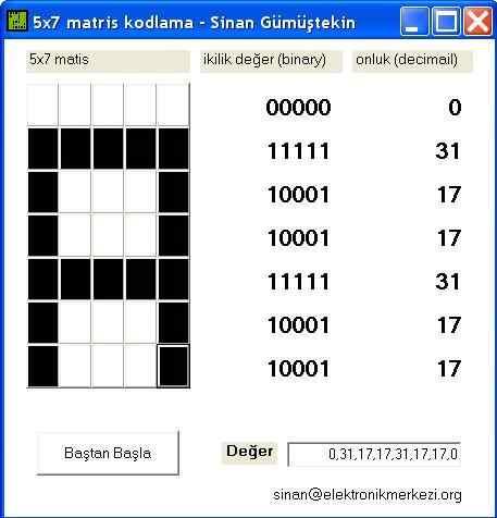 5x7 matris kodlama ccs c program