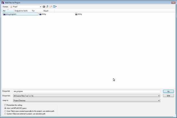 hitech picc kaynak dosya ekleme