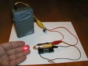 Oyuncak Lazer ve Hat Trafosu ile Ses İletim Düzeneği