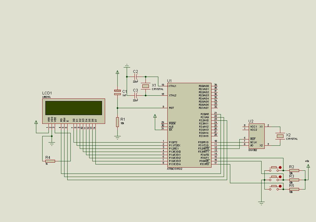 DS1302 RTC 8051 Digital Clock Circuit LCD Display