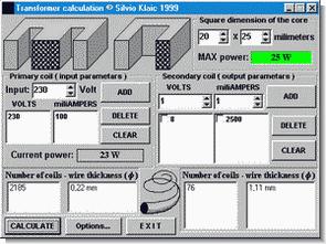 Transformer Calculation EI Seri için Hesaplama