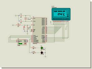 DS1620 AT89S52 Isı Ölçümü GLCD Termometre