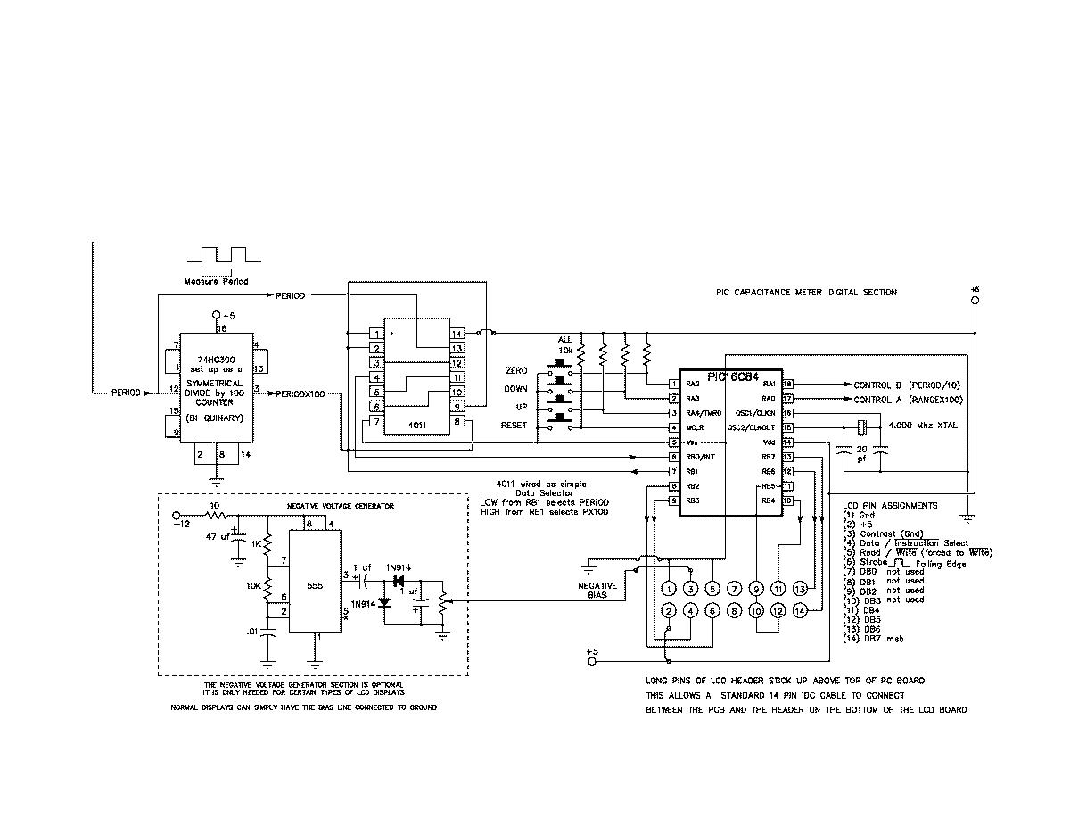 pic16c84 picmicro controlled capacitance meter circuit