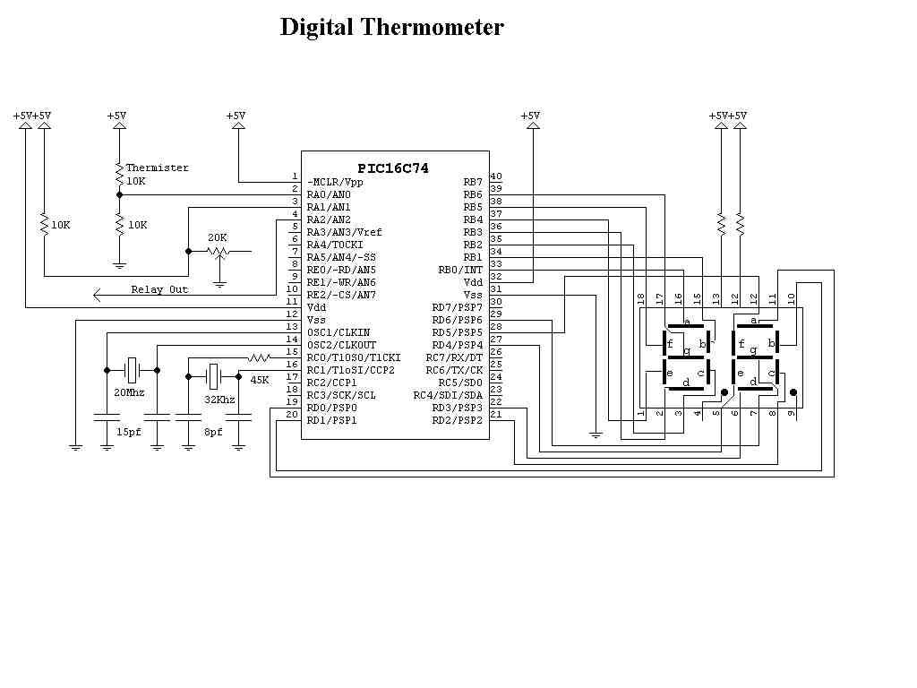 Pic16c74 Ntc Thermometer Circuit Electronics Projects Circuits Schematic Using Operational Amplifiers Termistor Termometre Devresi 150x150
