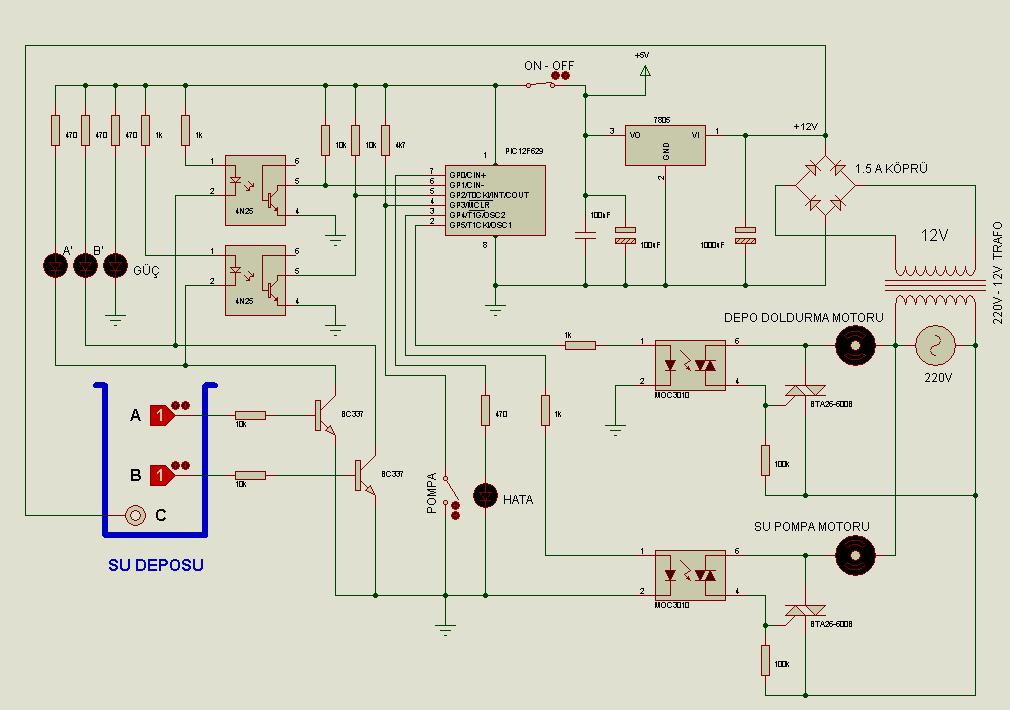 Pic12f629 Water Level Control Circuit Proton Basic