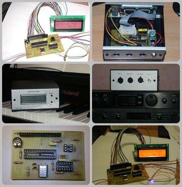 PIC16F876 Midi splitter Circuit  with LCD display midi splitter
