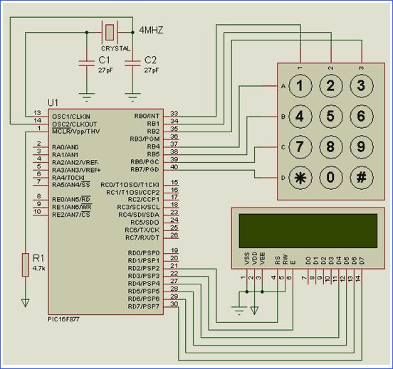 proton-pic16f877-keypad-lcd