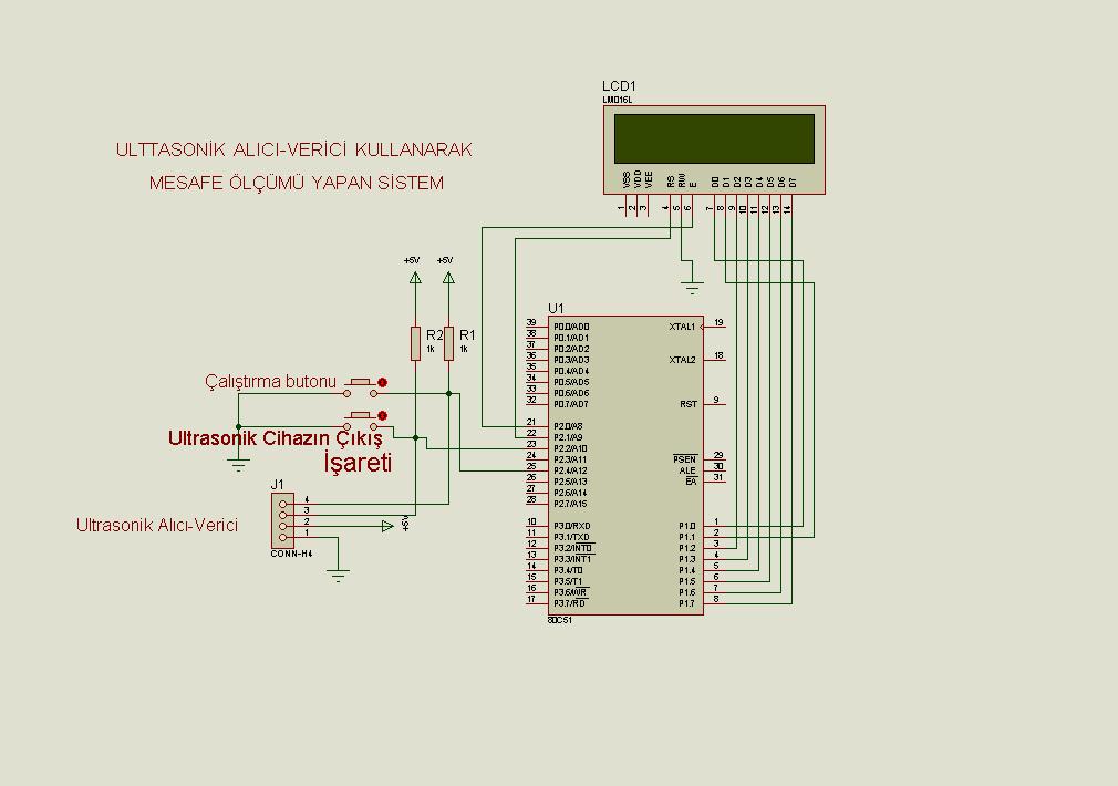 8051 Srf04 Ultrasonic Distance Meter Circuit Electronics Projects
