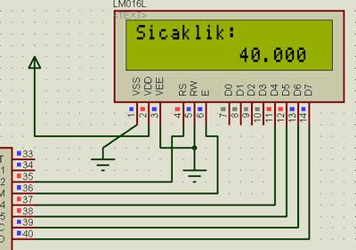 PIC16F877 LCD Digital Thermometer Circuit DS18B20 termometre lcd sicaklik goruntusu