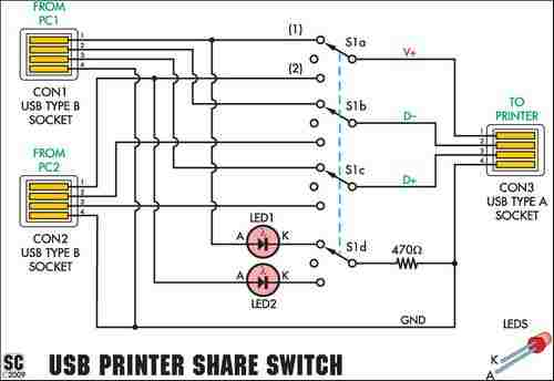 USB Printer Sharing Switch Circuit usb share switch circuit usb paylasim devresi