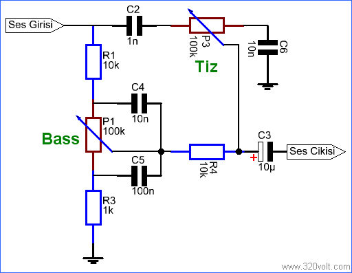 Simple Tone Control Circuit RC-Filter Bass Treble Adjustment ...