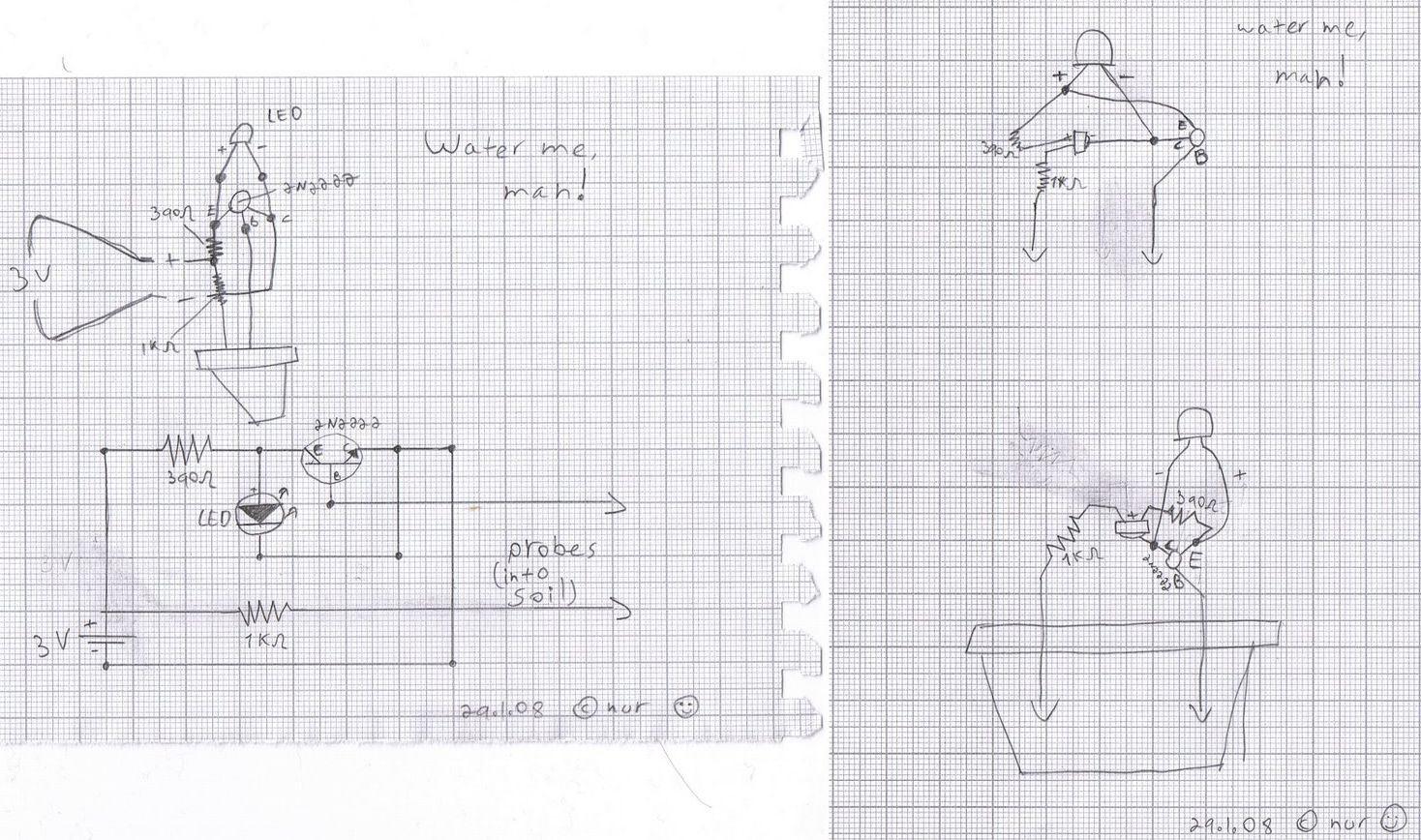 Simple Flower Watering Alarm Led Indicator Electronics Projects Electronic Stethescope Amplifier Circuit Homemade Saksi Cicek Sulama Elektronik Devre Semasi Water Man 120x120