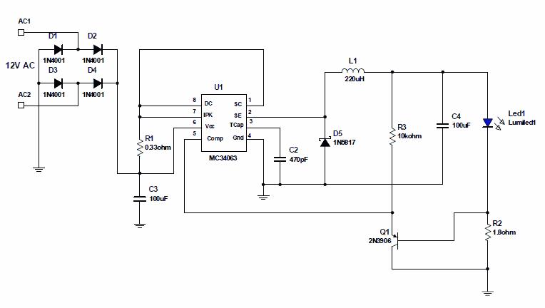 12V AC-DC Converter MC34063 Driving 350mA LED 12V Source ... on