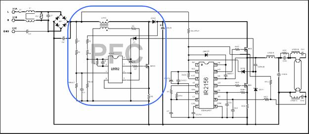 IR2156 elektronik balast l6562 pfc