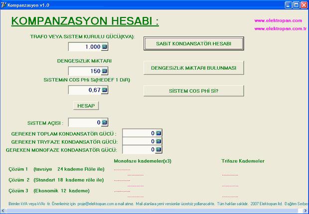Kompanzasyon hesaplama programi