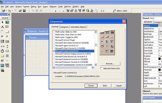 Microsoft Comm Control api modul vb6 seri port