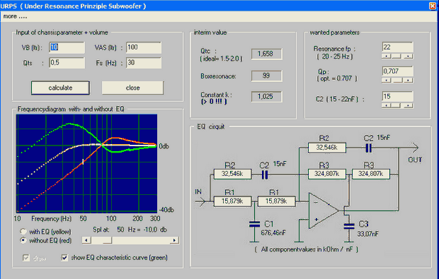 active passive crossover filter calculator program circuit diagram free
