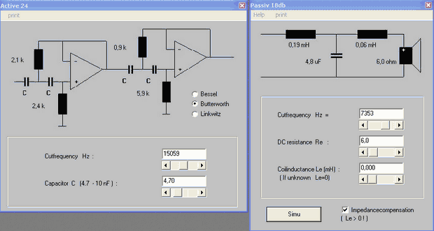 Active Passive Crossover Filter Calculator Program crossover aktif pasif filtre hesapmala