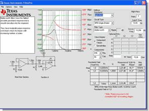 Texas Instruments bedava aktif filtre tasarım programı