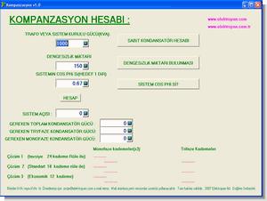 Kompanzasyon hesaplama programı (kva kvar)