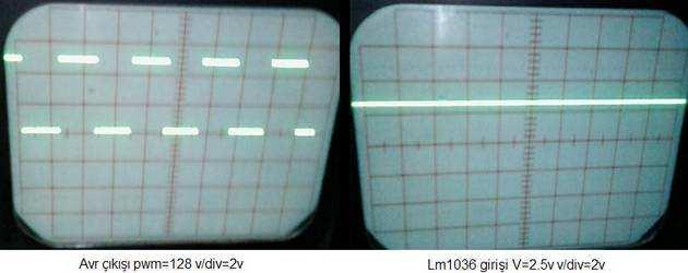 avr cikisi pwm lm1036 girisi osiloskop 1