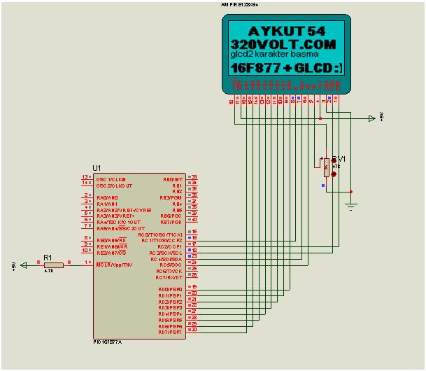 Proton ide Graphic LCD Example glcd proje 2 isis sema