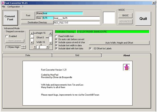 Proton ide Graphic LCD Example proton font converter