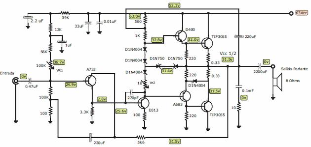 100w transistor amplifier circuit tip3055
