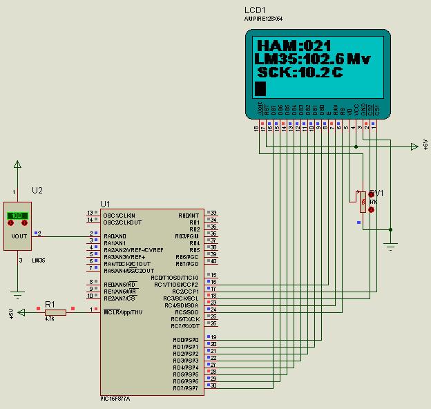 PIC16F877 LM35DZ Graphic LCD Temperature Meter  Proton ide lm35dz proton glcd isis devresi