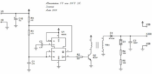5V to 200V with NE555 DC DC Converter 5v 200v dcdc donusturucu