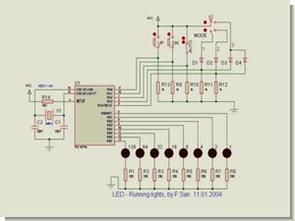PIC16F84 ile 8 led şov 4 mod proton proteus  isis